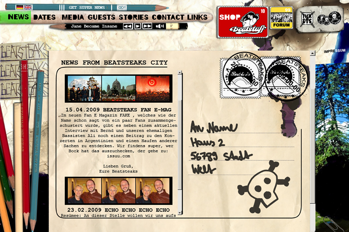 Beatsteaks Website Relaunch 2009